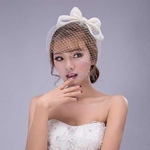 NPLE--Women's Fascinator Lace Bow Headband Headwear with Veil Costume Party Black - Country Lovin Costumes