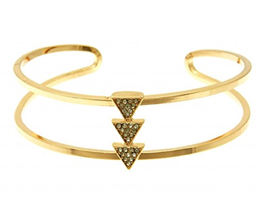 Element Jewelry Rose Gold Tone Cuff Bracelet with Crystal Triangle Accents