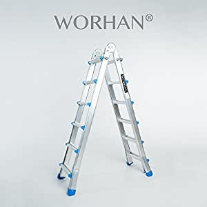 Worhan escalera 587cm aluminio telescopica for Escaleras aluminio amazon