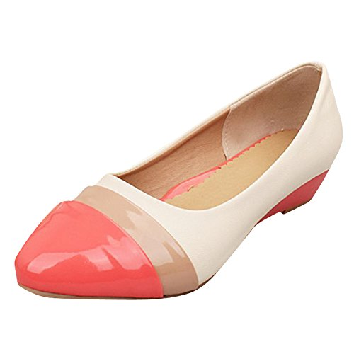 Mee Shoes Damen bequem süß populär Niedrig Keilabsatz mehrfarbig Geschlossen Pumps Rot