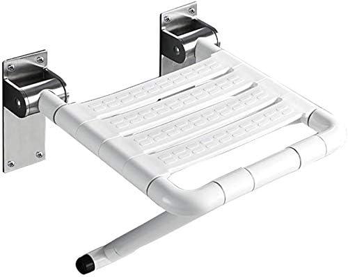 NMDD Klappbarer Dusch- / Badhocker 304 Edelstahl-Fuß Wandmontage-Hilfsmittel zum Klappen für ältere/behinderte/Schwangere Personen Rutschfester Duschsitzhocker in Weiß für schwere Personen ma