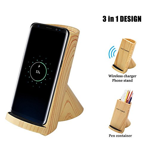 Fast Wireless Charger, 2-Coil Wireless Charger Stand Wood Grain for Samsung Galaxy S9/S9 Plus/Note8/S8/S8 Plus/S7, Qi Charger for iPhone X/iPhone 8/8 Plus and All Qi-Enabled Devices