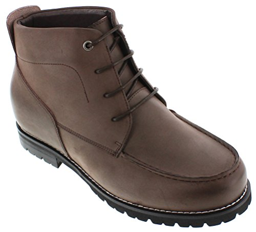 CALTO - G0603-3 inches Taller - Size 7.5 D US - Height Increasing Elevator Shoes (Nubuck Dark Brown Leather Lace-up Moc-Toe Boot) by CALTO