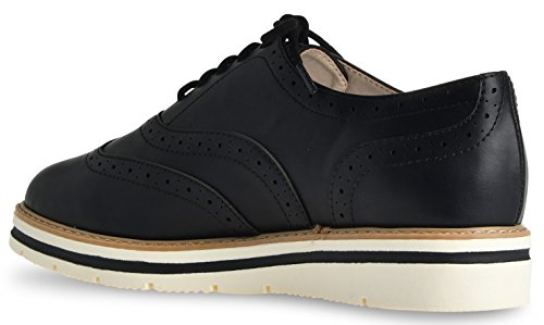 Lusthave Femmes Tinsley Lace Up Plate-forme Brogue Trim Oxford Appartements Sneakers Mocassins Noir Pu
