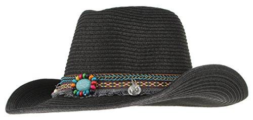 Gemvie Men Women Woven Straw Cowboy Hat National Wind Jazz Hat Cap Black (Prada Woven Band)