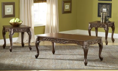 Bernards Carved Coffee Table Set, Cherry, (Carved Cocktail Table)