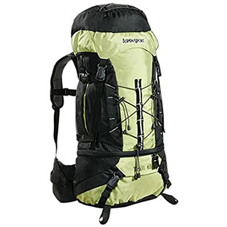b3ca694848 AspenSport - Zaino da trekking TRAIL, 65 litri, colore: Nero/Verde ...