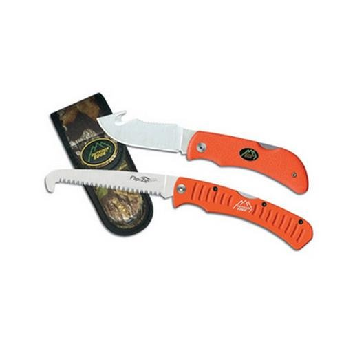 Outdoor Edge Grip Hook Camping Knife Combo (Clam Pack), Orange Blade Combo Clam