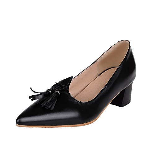 Black WeenFashion Women's Pointed Court Soild Heels Kitten Pu Toe Shoes wffxzaSq