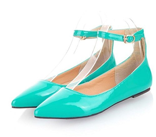 Flats Womens Buckle Strap Ankle Toe Shoes Ballet Ballerina Green satisfied Comfort Pointy zZxSqwFqBn