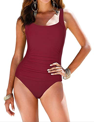 Firpearl Women's Backless One Piece Bathing Suit Ruched Tummy Control Swimsuit Red US6
