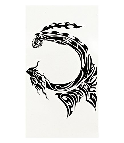 Curled Serpent Dragon Decorative Temporary Tattoo (Curled Dragon)