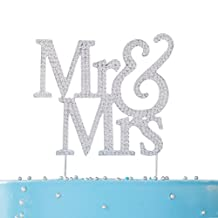 LOVENJOY with Gift Box Rhinestone Crystal Mr and Mrs Cake Topper Silver for Wedding Engagement Anniversary Bridal Shower Bling Bling Decoration (5-inch)