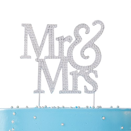 LOVENJOY with Gift Box Rhinestone Crystal Mr and Mrs Cake Topper Silver for Wedding Engagement Anniversary Bridal Shower Bling Bling Decoration -
