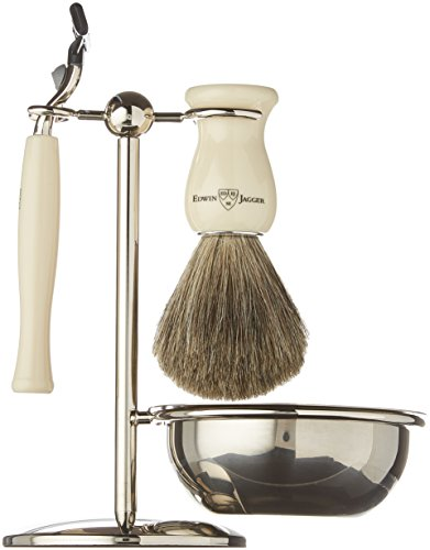 Edwin Jagger 4 Piece Ivory Color Shaving Shave Set by Edwin Jagger