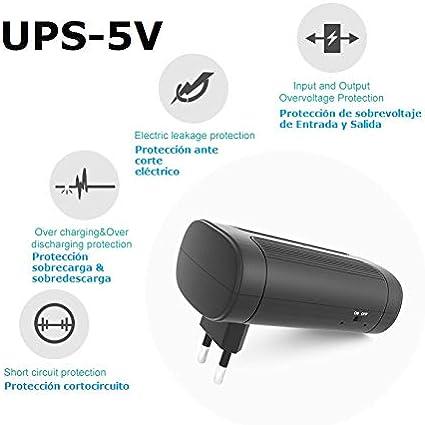 Tu Alarma SIN cuotas - Mini UPS o Mini SAI 5V con Batería Interna y Conector USB | Sistema de Alimentación Ininterrumpida | para Cámaras Routers y Otros Dispositivos de Seguridad