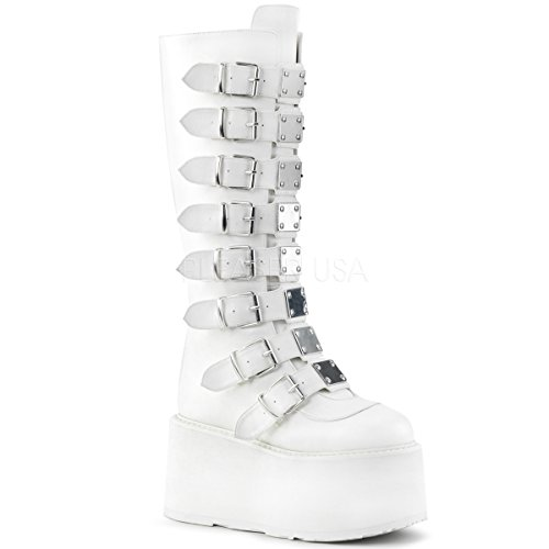 Demonia Women's Damned-318 Knee High Boot, White Vegan Leather, 6 M (Leather Buckle Boot)