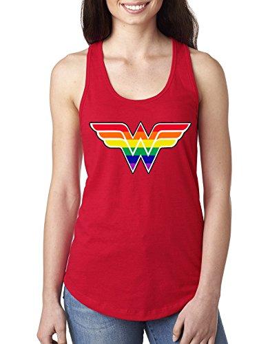 (Wild Bobby Women's Wonder Rainbow Design | Womens LGBT Pride Jersey Racerback Graphic Tank Top, Red,)
