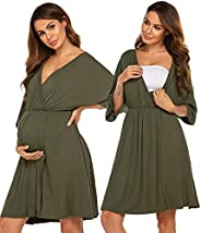 Ekouaer 3 in 1 Nursing Nightgowns V Neck Maternity Hospital Gown for Breastfeeding Delivery Labor Robe - Class