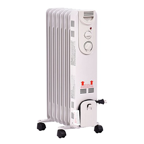 Tangkula electric oil filled radiator heater portable home for Electric radiant heat efficiency