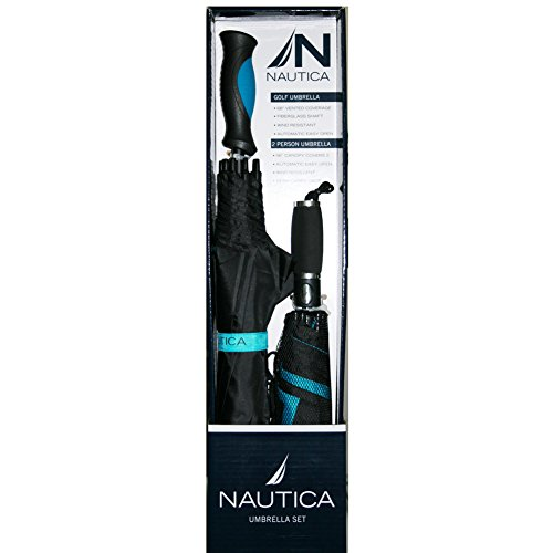Nautica Golf Umbrella and 2-Person Umbrella Set with Biker Cotton Skull Cap Head Wrap