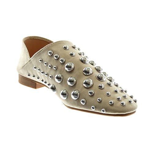 Angkorly Damen Schuhe Oriental Hausschuhe Mule - Slip-On - Flexible - Reversible - Perle - Nieten - Besetzt Blockabsatz 2 cm Beige