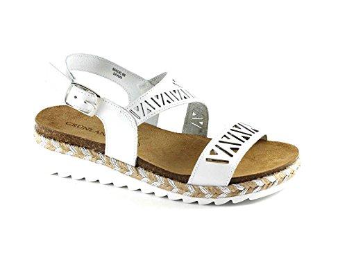 Grünland SHIP SB0883 sandalias blancas cuerda de cuero de la mujer de la piel Bianco