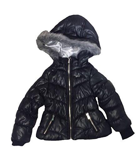 - DKNY Girls/Toddler Hooded Faux Fur Puffer Jacket (4T) Black