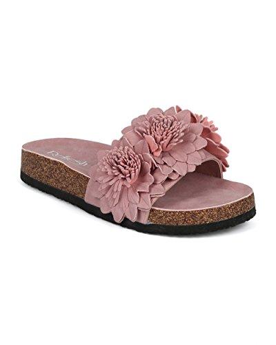 Alrisco Kvinnor Läder 3d Blommor Öppen Tå Fotbädd Slide - Hg30 Av Refresh Samling Mauve Konstläder