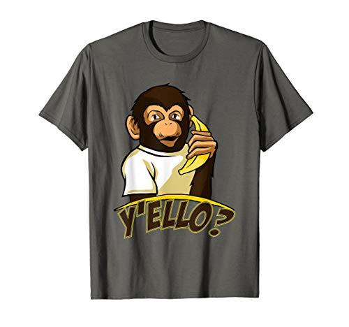 Yello Funny Talking Monkey On Banana Phone T-Shirt ()