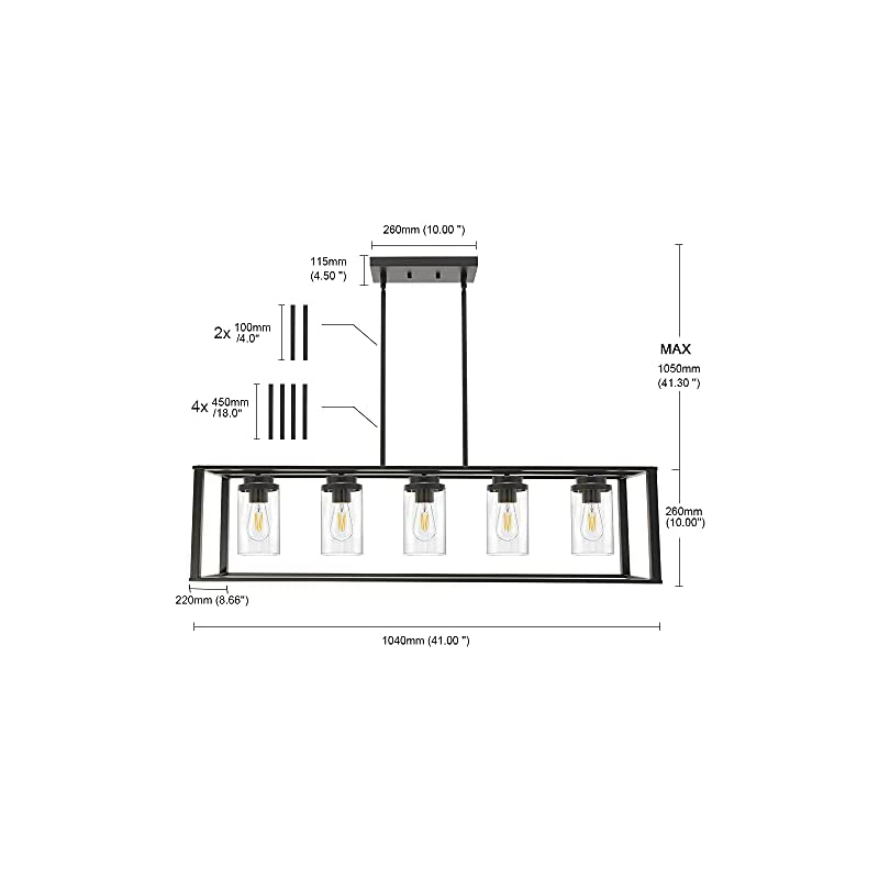 Banato 5-Light Farmhouse Chandelier Rectangle Black Pendant Lighting for Kitchen Island, Dining Room Lighting Fixtures…