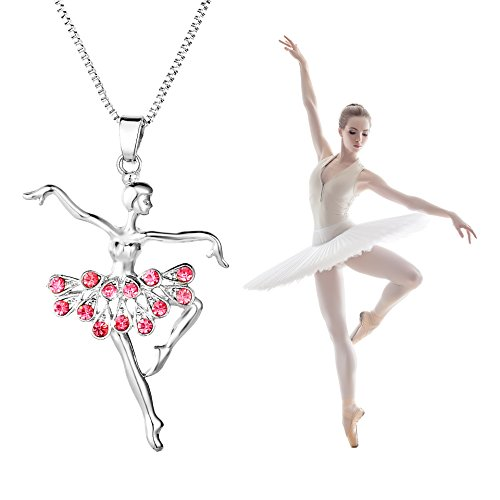 YILIN Little Girl Necklace Dancer Ballet Recital Gift Ballerina Dance Necklaces Teen Girls Jewelry (Pink) Ballerina Accessories