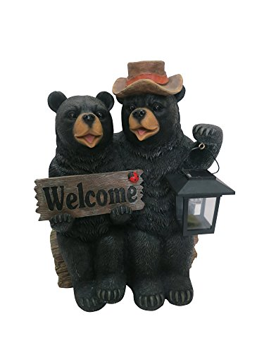 Alpine Corporation Bear Couple with Lantern and Welcome Sign Statue with Solar LED Lights – Outdoor Decor for Garden, Patio, Deck, Porch – Yard Art Decoration – 15 Inches Tall