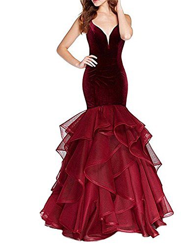 Dresses Long Prom Backless Velvet Pleats Mermaid 2018 DreHouse Burgundy Women's Evening Dress wOY1UqZ