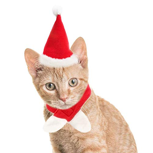LAWOHO Christmas Pet Costumes Santa Hat Scarf Xmas Costumes Holiday Decoration Muffler Cap Small Cats & Dogs Kitten Puppy Christmas Party