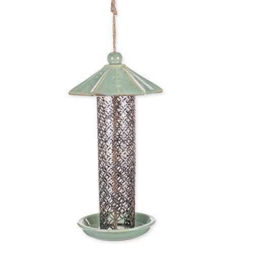 (Decorative Tall Hanging Mint Green 14 x 7 Ceramic and Metal Wild Bird Feeder )