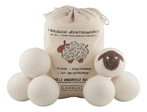 LAHELA Trocknerbälle 6er Pack - Ideal als natürliche Alternative für Weichspüler. Aus 100% neuseeländischer Premium-Schafwolle. Pflegend, umweltschonend, zeit- und kostensparend. Wäschetrockner Bälle Trocknerkugeln für Wäschetrockner . Handarbeit aus Nepal.