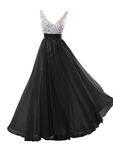 Dresstells Long Prom Dress with Beads Bridesmaid Dress Graduation Dress Black Size 18W