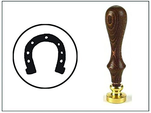 Wax Seal Stamp with Brown Wood Handle and Round - Die Horseshoe