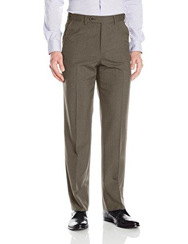 Palm Beach Men's Expander Plain Dress Pant Washable, Olive, 58W Regular by Palm Beach