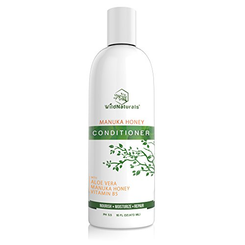 (Wild Naturals Sulfate Free Conditioner : With Manuka Honey + Aloe Vera, For Hair Loss, Thinning Hair, and Itchy Dry Scalp. Anti Dandruff, Moisturizing, 98% Natural, 80% Organic Healing Plant-Based)