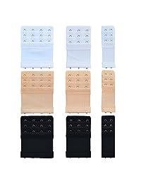 9 pcs 3 tamaños extensor de brasier, bantoye nailon elástico lencería extensores para damaes 3 filas de x 2 ganchos 3 ganchos 4 ganchos, blanco y negro y Nude