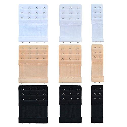 Bantoye 9pcs Bra Extender 2 Hooks/3 Hooks/4 Hooks Nylon Elastic Back Bra Band Extension Strap Black & White & Nude ()
