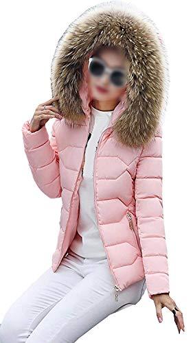 In Cerniera Invernali Collo Sintetica Puro Pink Donna Autunno Lunga Colore Calda Incappucciato Manica Grazioso Con Moda Cappotti Laterali Eleganti Imbottitura Pelliccia Tasche Piumino Giacche 2 vXH8n8Yx