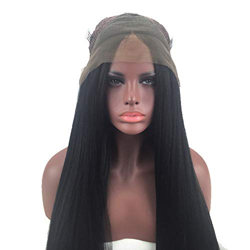 FengGa Human Hair Wigs for Women Long Straight Lace Front Full Wig with Baby Hair, Side Part Short Straight Bob Wig Heat Resistant Synthetic Fiber Hair Cosplay Party Full Wig ()