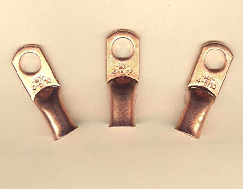 10 Big Copper Lug Terminal Connector Ring Battery #4 Wire Gauge 5/16