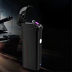 Arc Electric Lighter Dual Arc Flameless Windproof Rechargeable Flameless USB Replaceable Lighters Luxury Gift Box Included (C5)
