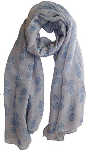 Gris-clair et bleu vélos Imprimer écharpe de mode de dames Echarpes Avec Hanging Heart Gift