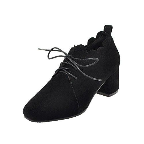 VogueZone009 Women's Round-Toe Kitten-Heels Soild Lace-up Pumps-Shoes Black NiYOOXtSoN