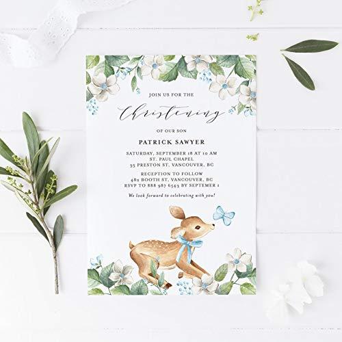 Dozili Christening Invitation DIY Watercolor Woodland Deer and Blue Florals Christening Invitation ()